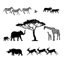 Safari Scene Silhoutte Small Wall Decal