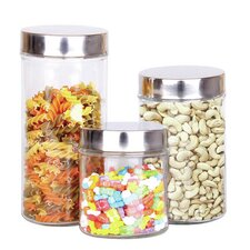3 Piece Tall Canister Set with Lid
