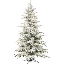 Mountain Pine 7.5' Green Artificial Christmas Tree with 550 Smart String Lights with Flocked Branches and Stand