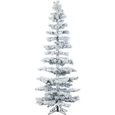 Hillside Slim Pine 7.5' Green Artificial Christmas Tree with 350 Smart String Lights with Flocked Branches and Stand