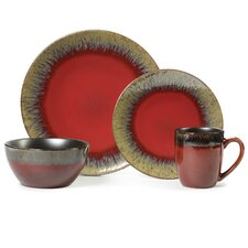 Calder Red 16 Piece Dinnerware Set