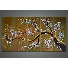 Modern Floral Tree 5 Piece Original Painting on Canvas Set in Brown