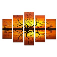 Abstract Reflection Tree Landscape 5 Piece Original Painting on Canvas Set