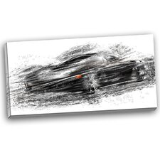 Black Sports Car Graphic Art on Wrapped Canvas