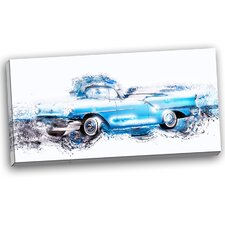 Baby Blue Vintage Car Graphic Art on Wrapped Canvas