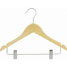 Flat Wooden Suit Hanger with Clip (Set of 25)