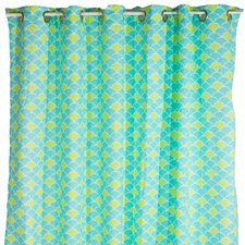 Aqua Peacock Cotton Shower Curtain