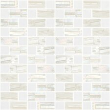 "Moon Blends 12.375"" W x 12.375"" L Eco Glass Mosaic in Pina Colada"