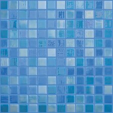 "Lux Eco 12.375"" W x 12.375"" L Glass Mosaic in Blue Lagoon"