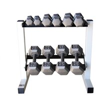 150 lbs Solid Hex Dumbbell Set with Rack