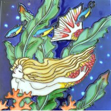 Right Mermaid Tail in Orange Tile Wall Decor