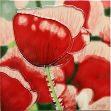 Red Poppy with White Tile Wall Decor