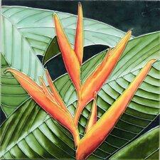 Orange Bird of Paradise Tile Wall Decor