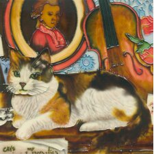 Cat with Violin Tile Wall Decor