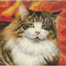 Furry Cat Tile Wall Decor
