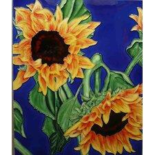 2 Sunflower in Blue Tile Wall Decor