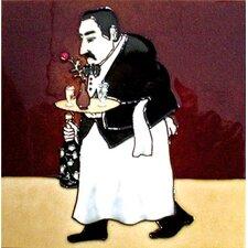 Waiter in Black Tile Wall Decor