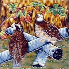 Brown Birds On Tree Tile Wall Decor