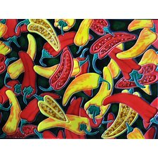 Yellow and Red Chili Pepper Tile Wall Decor