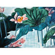 Teal Lotus Pond Tile Wall Decor