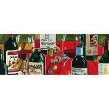 Wine Bottles with Red Table Cloth Tile Wall Decor