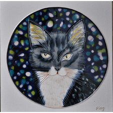 Gray Cat in Circle Tile Wall Decor
