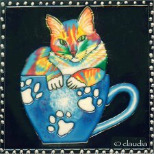Coffee Cat Tile Wall Decor
