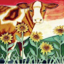 Brown Cow Sunflower Tile Wall Decor