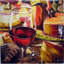 Wine Glass with Cheese Tile Wall Decor