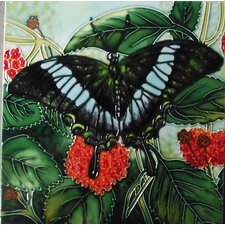Green Butterfly with Red Flowers Tile Wall Decor