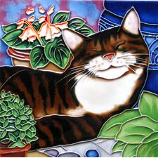 Sleeping Cat Tile Wall Decor