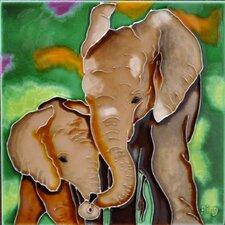 Mom and Baby Brown Elephant Tile Wall Decor