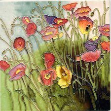 Multi Color Poppy Field Tile Wall Decor