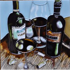 Wine  With Light Blue Background Tile Wall Decor