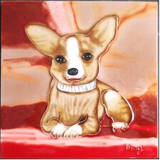 Chihuahua with Red Background Tile Wall Decor