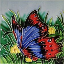 Blue/Red Butterfly Tile Wall Decor