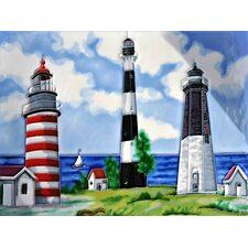 Light House with Red and Black Tile Wall Decor