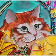 Orange Cat with Yellow Flowers Tile Wall Decor