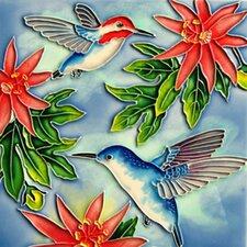 2 Hummingbirds with Red Flowers Tile Wall Decor