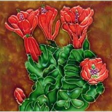 Cactus with Red Flowers Tile Wall Decor