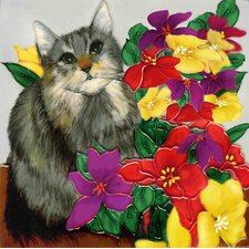 Gray Cat with Flowers Tile Wall Decor