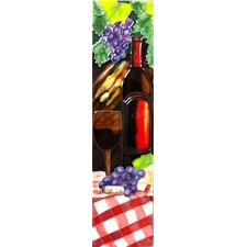 Wine with Red Table Cloth Tile Wall Decor