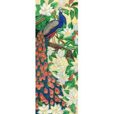Vertical Peacock Tile Wall Decor