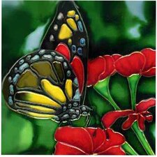 Butterfly on Red Flower Tile Wall Decor