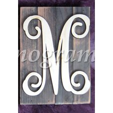 Monogram Letter Mounted on Rustic Wood Board Wall Decor