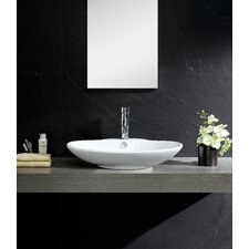 Modern Vitreous Low oval Vessel Sink Vessel Bathroom Sink with Overflow