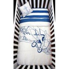 Biplane 4 Piece Organic Baby Microfiber Duvet Crib Bedding Set
