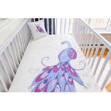 Peacock Organic Crib Fitted Sheet