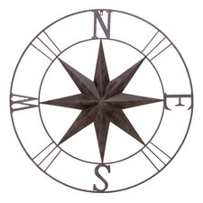 Antique Metal Compass Rose Wall Decor
