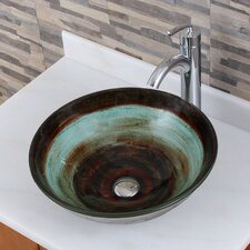 Elite Black Coffee and Cream Glass Vessel Bathroom Sink